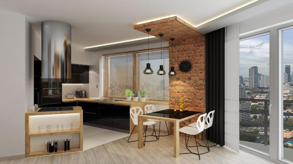 projekt kuchni z salonem osiedle bajeczna 4 w krakowie